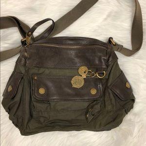 Lauren Ralph Lauren army green canvas satchel